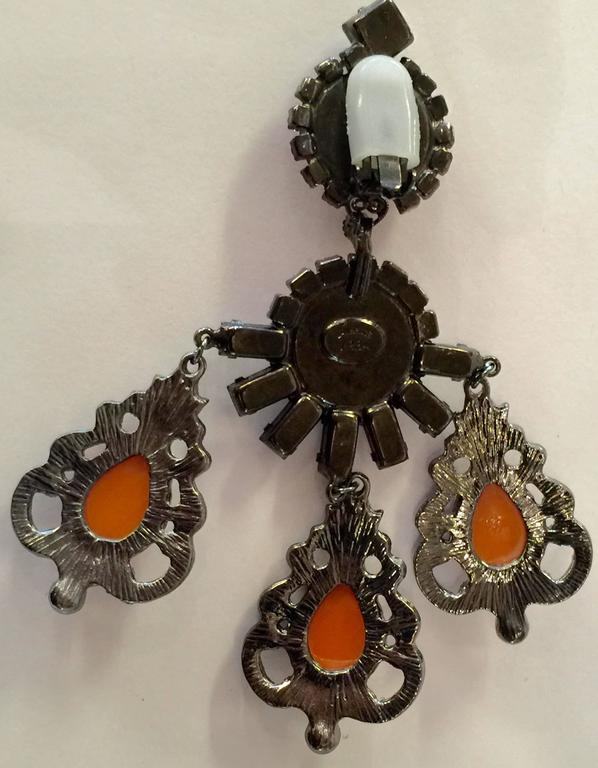21st Century Lawrence Vrba Mammoth Coral and Tangerine  Drop Earrings In Excellent Condition For Sale In Palm Springs, CA