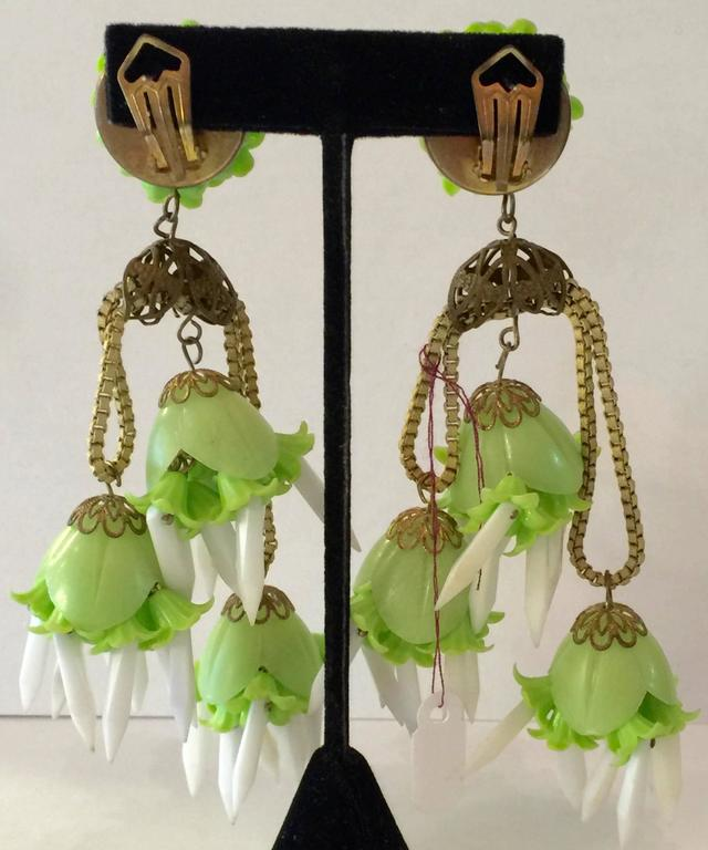 1960s WILD West German Mammoth Acetate Plastic Drop Earrings 2