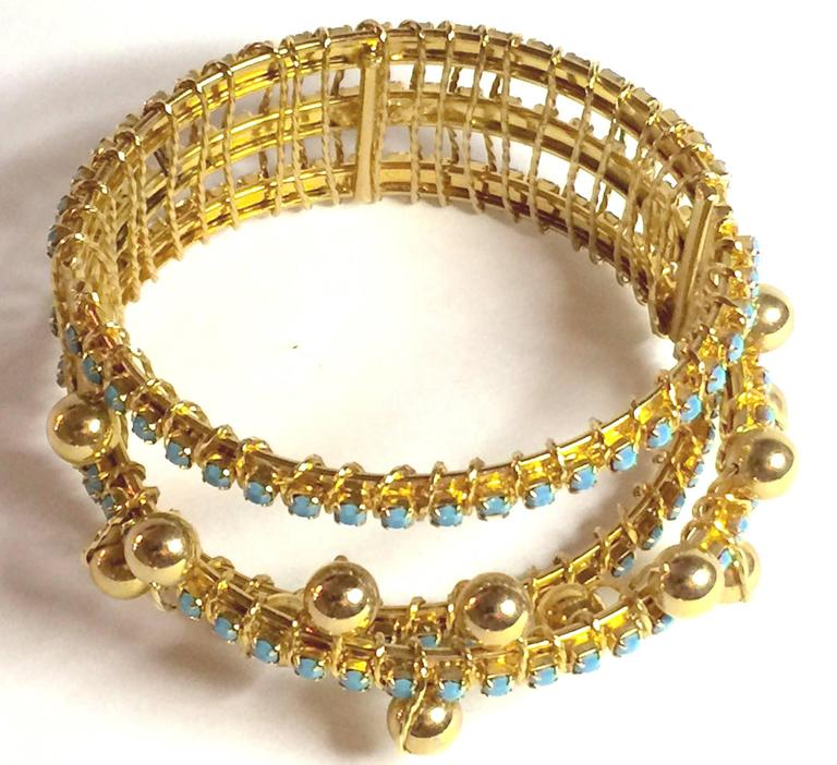 DeLillo Modernist Wirewrapped Goldtone Aqua Stones & Ball Accent Hinged Bracelet For Sale 2
