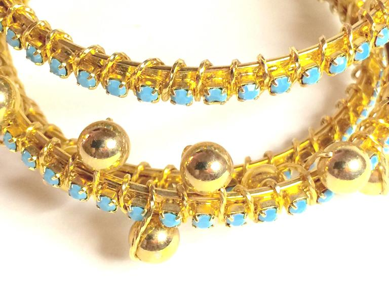 DeLillo Modernist Wirewrapped Goldtone Aqua Stones & Ball Accent Hinged Bracelet For Sale 5