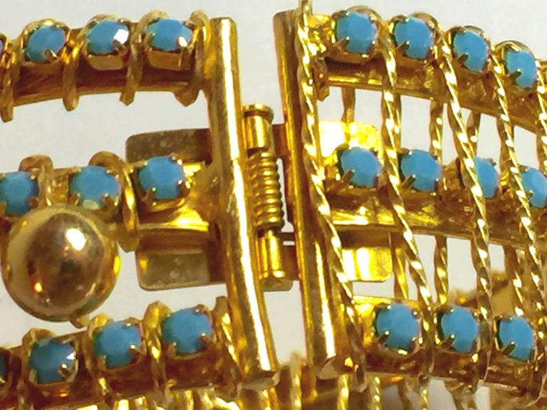 DeLillo Modernist Wirewrapped Goldtone Aqua Stones & Ball Accent Hinged Bracelet For Sale 6