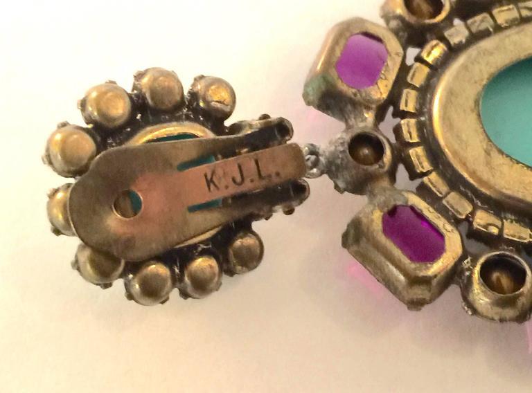 Women's 1960s KJL Massive Faux Turquoise Amethyst Drop Clip On Earrings For Sale