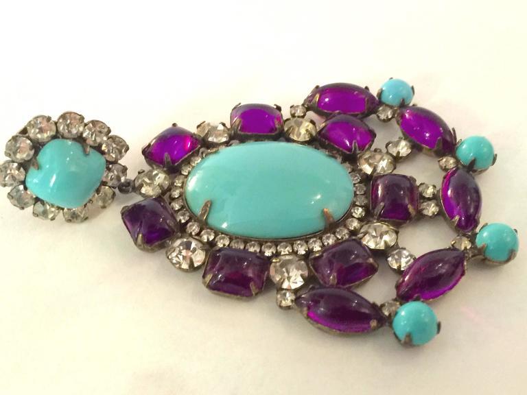 1960s KJL Massive Faux Turquoise Amethyst Drop Clip On Earrings For Sale 2
