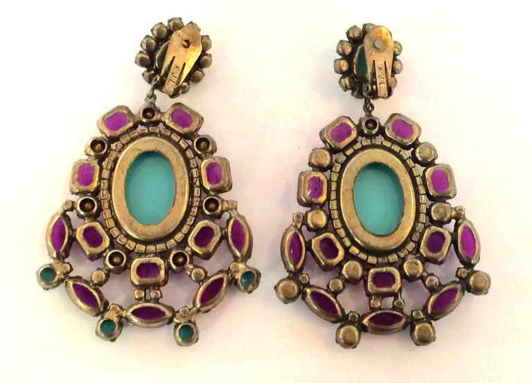 1960s KJL Massive Faux Turquoise Amethyst Drop Clip On Earrings In Excellent Condition For Sale In Palm Springs, CA