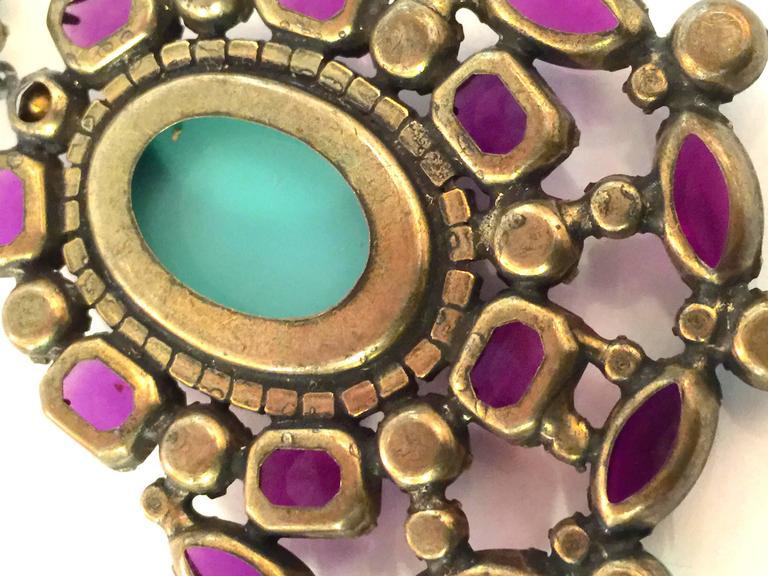 1960s KJL Massive Faux Turquoise Amethyst Drop Clip On Earrings For Sale 1