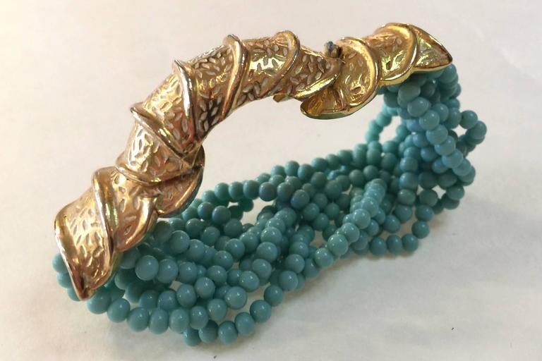 Women's 60s DeLillo Multistrand Faux Turquoise Tourcade Bead Bracelet Caterpillar Clasp For Sale