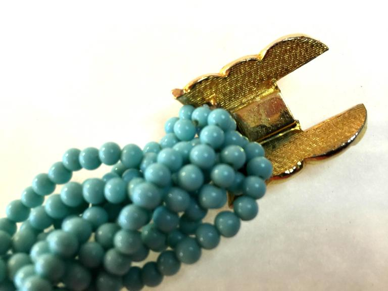 60s DeLillo Multistrand Faux Turquoise Tourcade Bead Bracelet Caterpillar Clasp For Sale 1