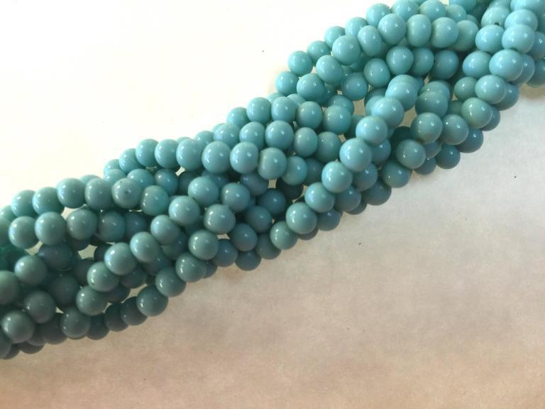 60s DeLillo Multistrand Faux Turquoise Tourcade Bead Bracelet Caterpillar Clasp For Sale 2