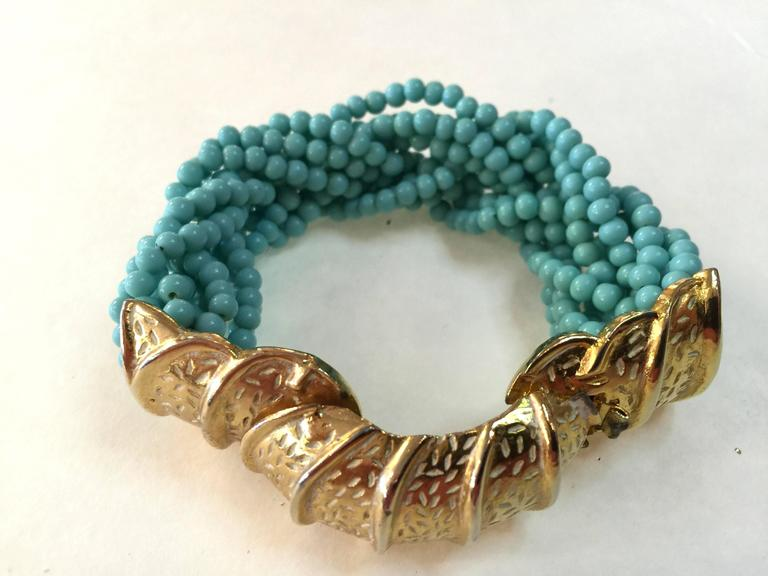 60s DeLillo Multistrand Faux Turquoise Tourcade Bead Bracelet Caterpillar Clasp For Sale 4