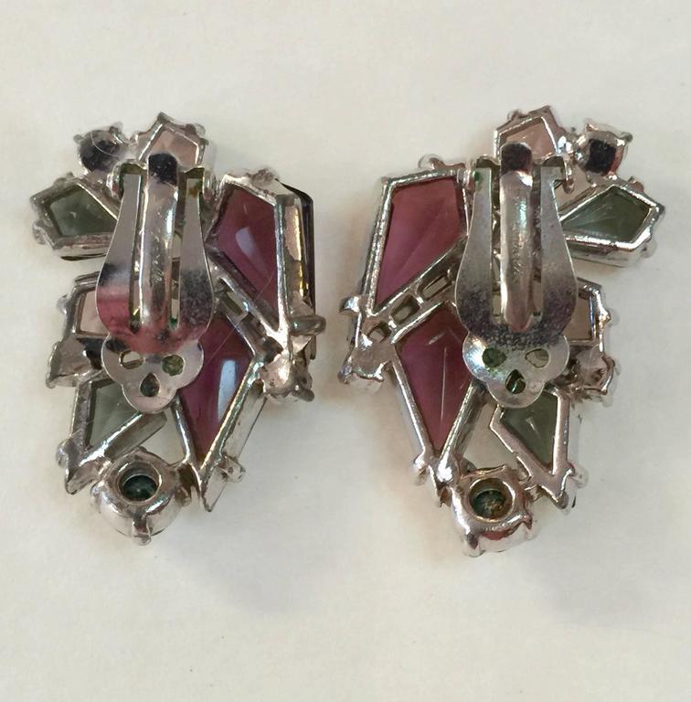 RARE 1960s Schiaparelli Amethyst Link Bracelet Clip On Earring Set 5