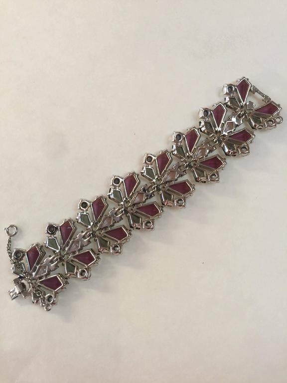 RARE 1960s Schiaparelli Amethyst Link Bracelet Clip On Earring Set 6