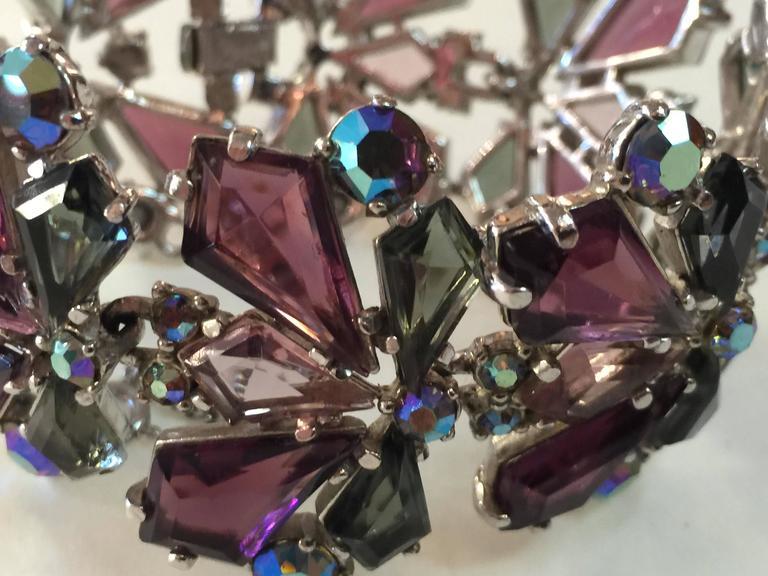 RARE 1960s Schiaparelli Amethyst Link Bracelet Clip On Earring Set 7