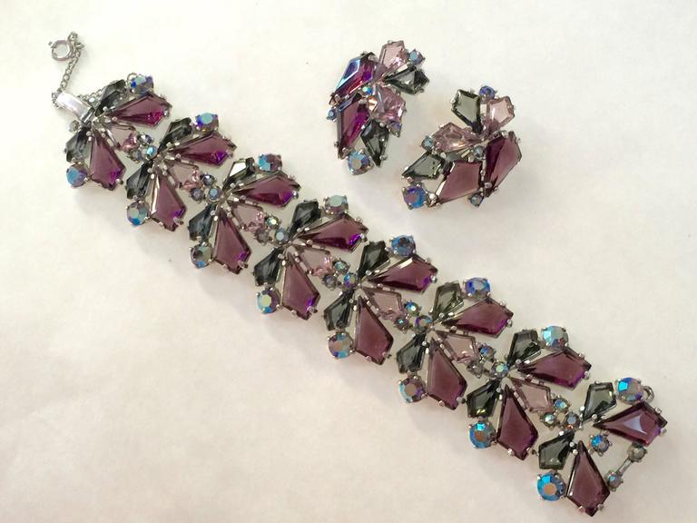 RARE 1960s Schiaparelli Amethyst Link Bracelet Clip On Earring Set 4