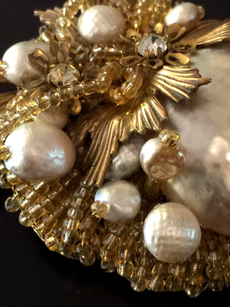 MIRIAM HASKELL Baroque Pearl Seed Bead and Gilt Metal Brooch/Pin In Excellent Condition For Sale In Palm Springs, CA