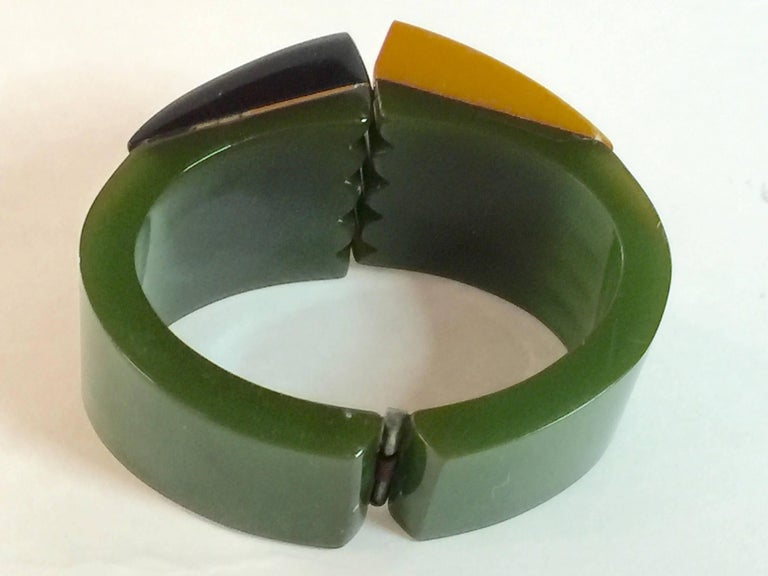 Iconic 1930s Bakelite Multicolor Geometric PHILADELPHIA Hinged Bracelet 4