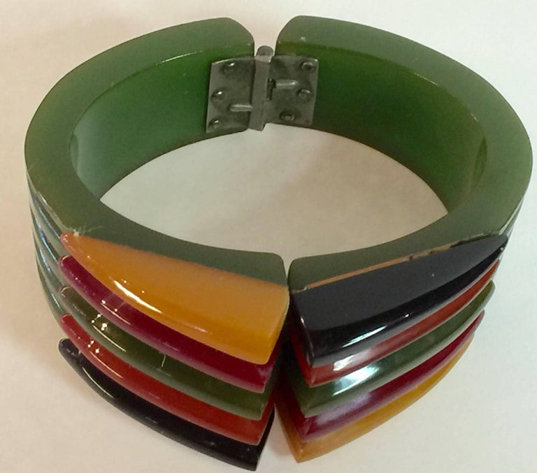 Iconic 1930s Bakelite Multicolor Geometric PHILADELPHIA Hinged Bracelet 3
