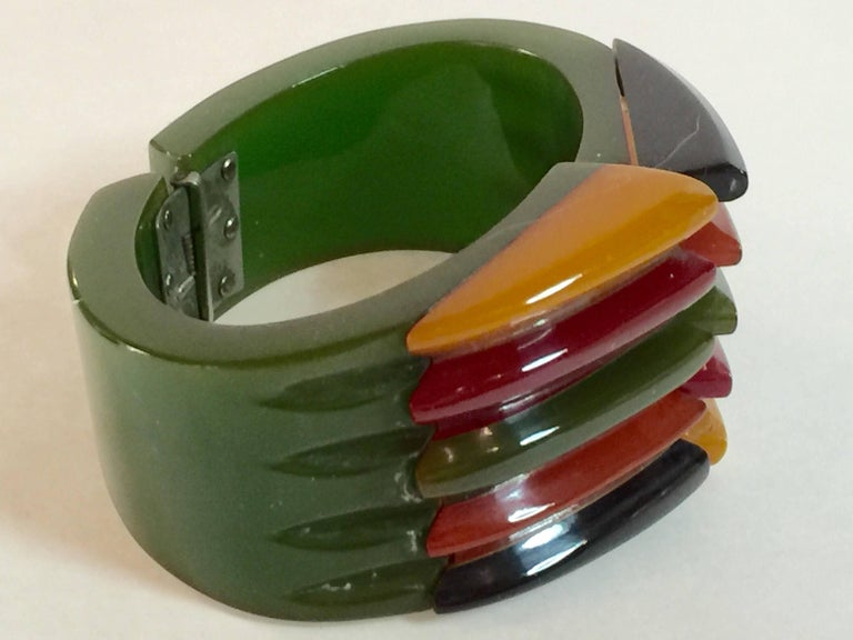 Iconic 1930s Bakelite Multicolor Geometric PHILADELPHIA Hinged Bracelet 7