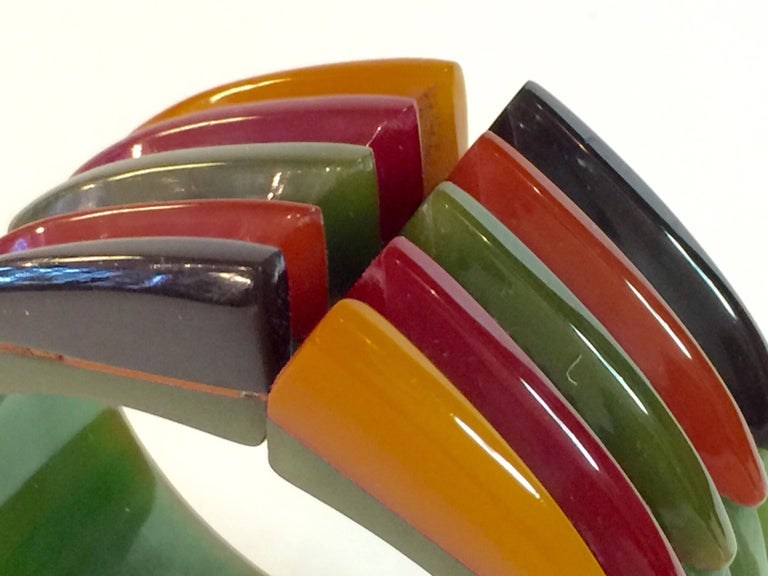 Iconic 1930s Bakelite Multicolor Geometric PHILADELPHIA Hinged Bracelet 5