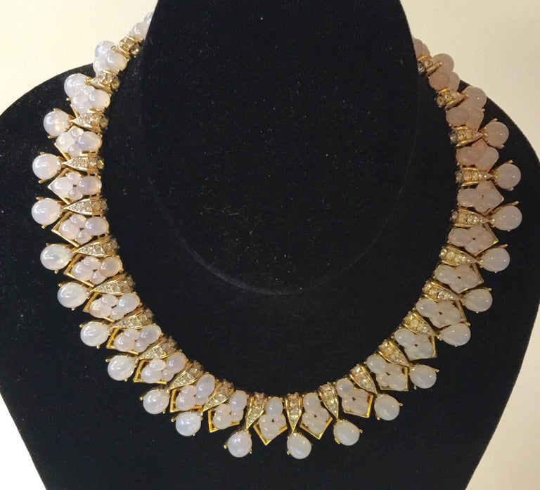 This amazing TRIFARI 1960s Faux Moonstone and Diamante statement necklace is a work of a master jeweler's art. Created in the late 1950s and immeasurably beautiful, it was designed by Alfred Phillipe and is executed at the level of quality and