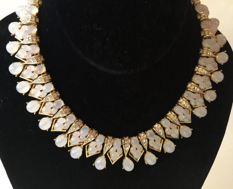 TRIFARI 1960s Faux Moonstone and Diamante Statement Necklace For Sale 3