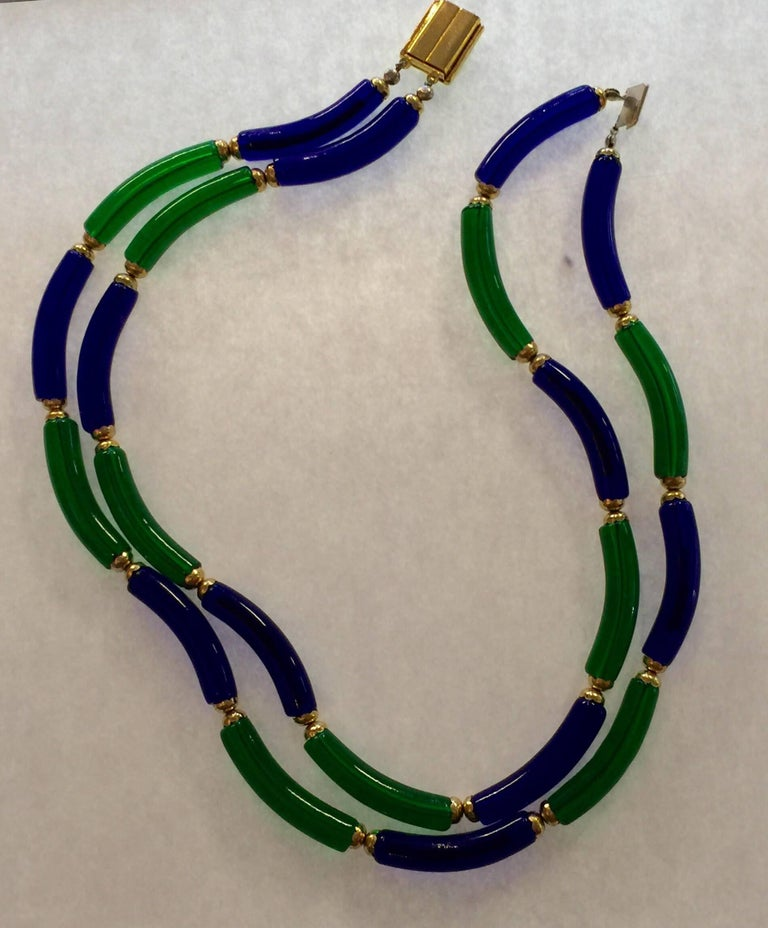 Archimede Seguso for CHANEL Cobalt and Emerald Tubular Glass Art Necklace For Sale 1