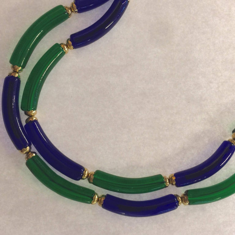 Women's Archimede Seguso for CHANEL Cobalt and Emerald Tubular Glass Art Necklace For Sale