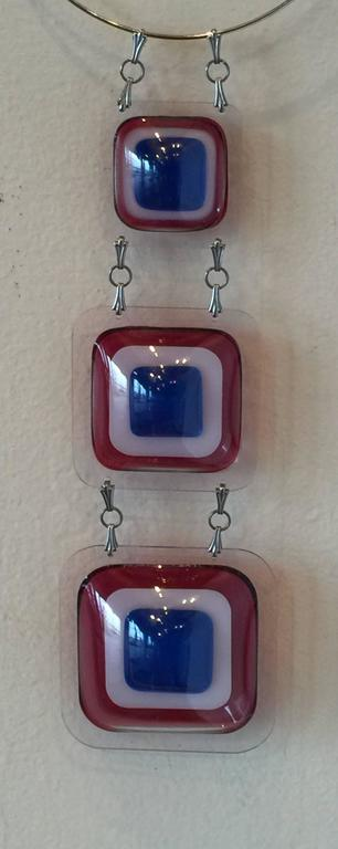 Important Aaronel deRoy Gruber 1971 Fused Acrylic 3tiered Pendant Necklac 4