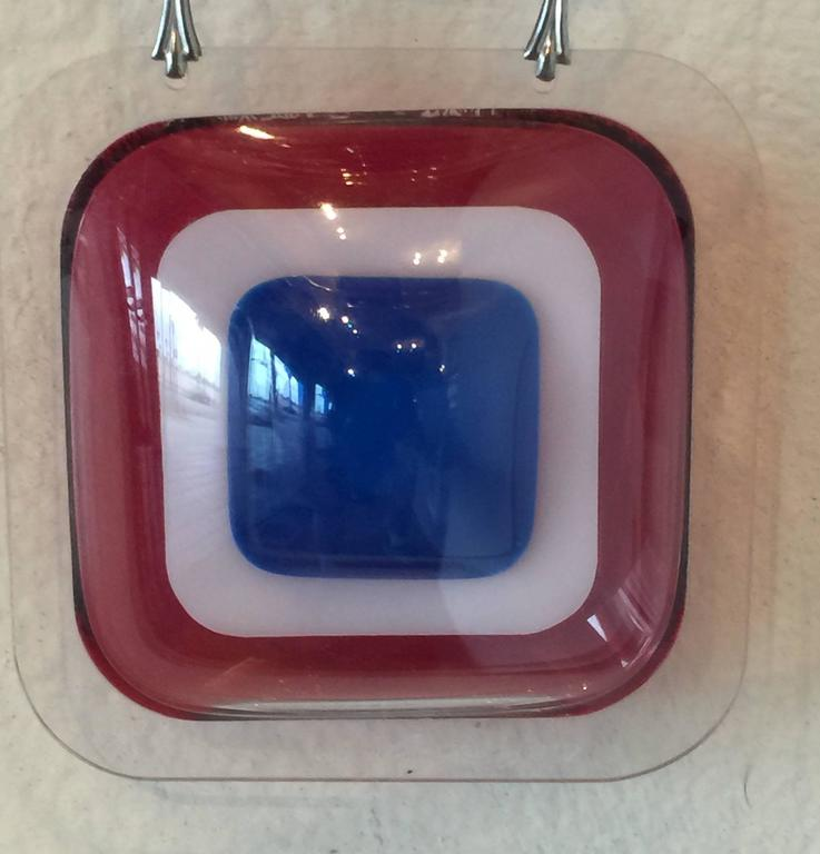Important Aaronel deRoy Gruber 1971 Fused Acrylic 3tiered Pendant Necklac 3