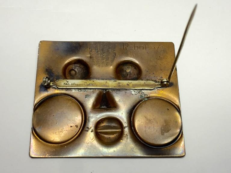1950's REBAJES Copper Ubangi Rectangular brooch In Excellent Condition For Sale In Palm Springs, CA