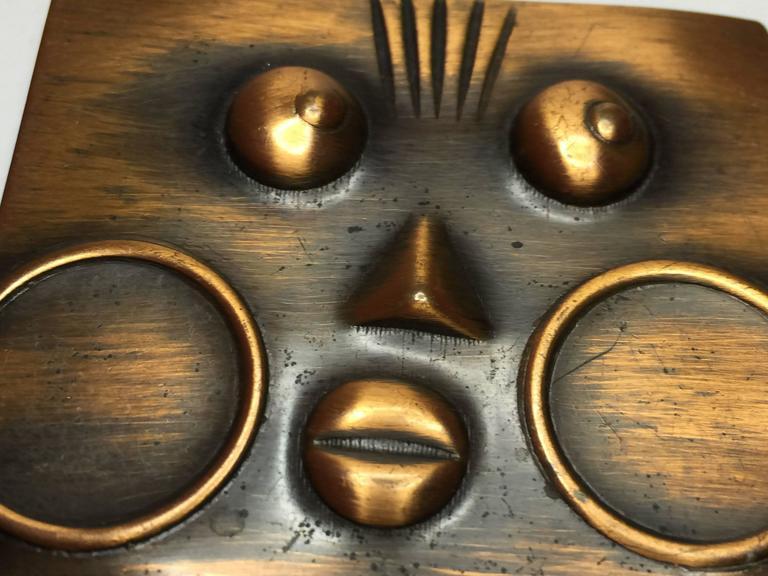 Modernist 1950's REBAJES Copper Ubangi Rectangular brooch For Sale
