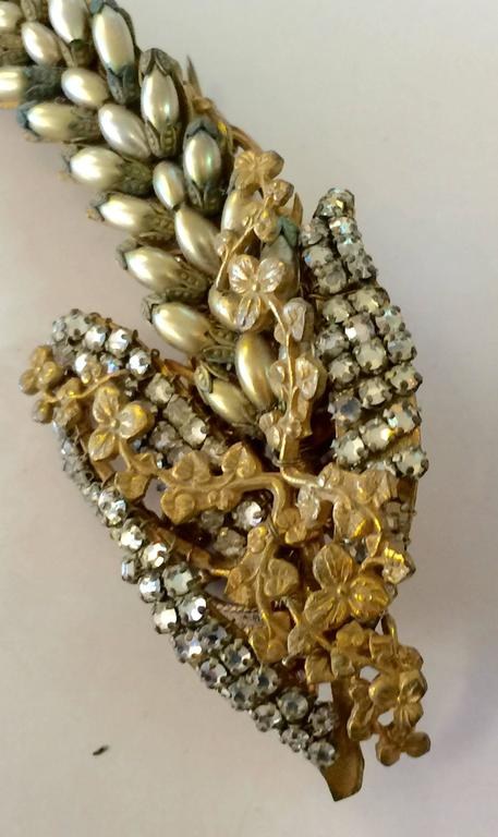 1950s Fine MIRIAM HASKELL Seed Pearl and Montee Elaborate DELPHINIUM Brooch Pin For Sale 1