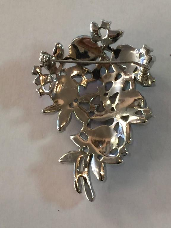 Women's 1950s Rhodium TRIFARI Floral Brooch Pin Borealis RARE Molded Rose Stonework For Sale