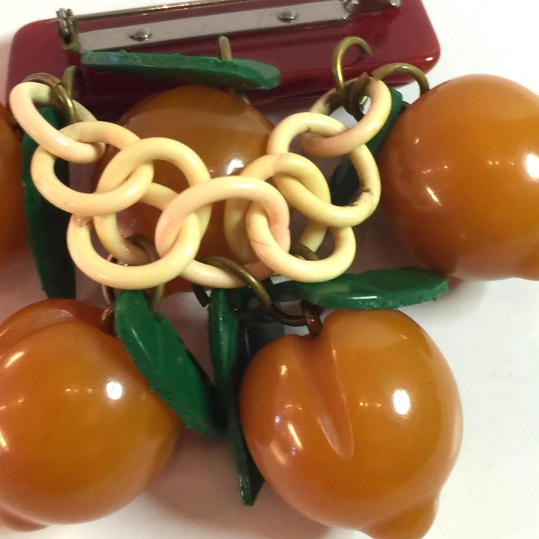 1930s Bakelite APRICOTS Pin/Brooch In Excellent Condition For Sale In Palm Springs, CA