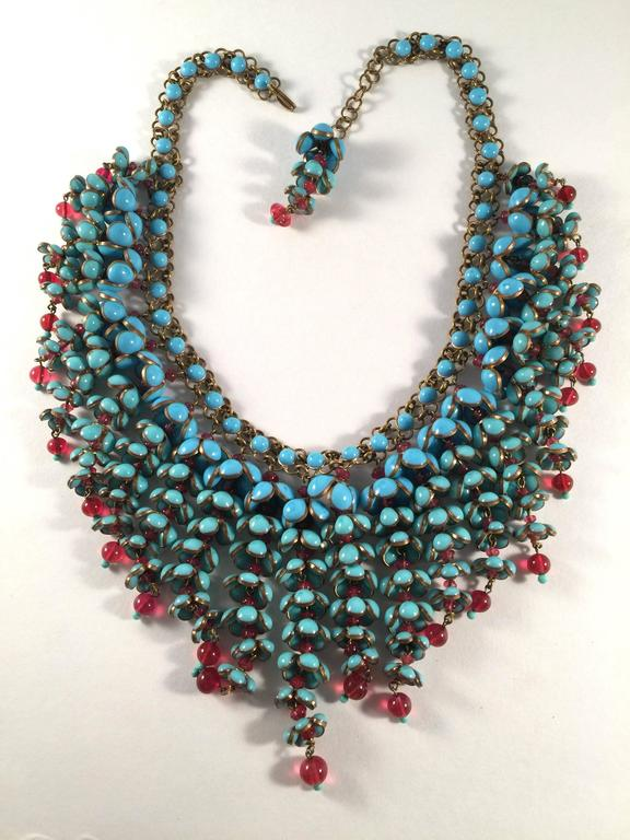Coco Chanel Gripoix Poured Glass Flower Faux Turquoise and Ruby Necklace 4