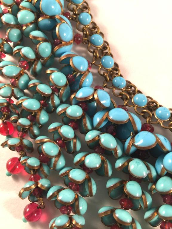 Coco Chanel Gripoix Poured Glass Flower Faux Turquoise and Ruby Necklace 7