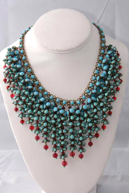 Coco Chanel Gripoix Poured Glass Flower Faux Turquoise and Ruby Necklace 8