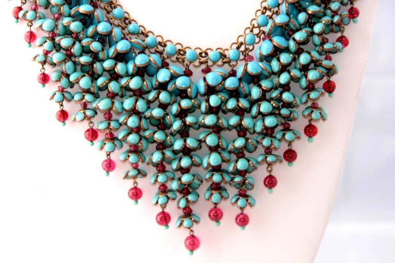 Coco Chanel Gripoix Poured Glass Flower Faux Turquoise and Ruby Necklace 2