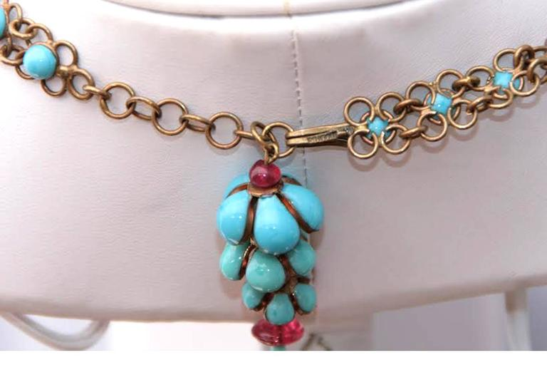 Coco Chanel Gripoix Poured Glass Flower Faux Turquoise and Ruby Necklace 10