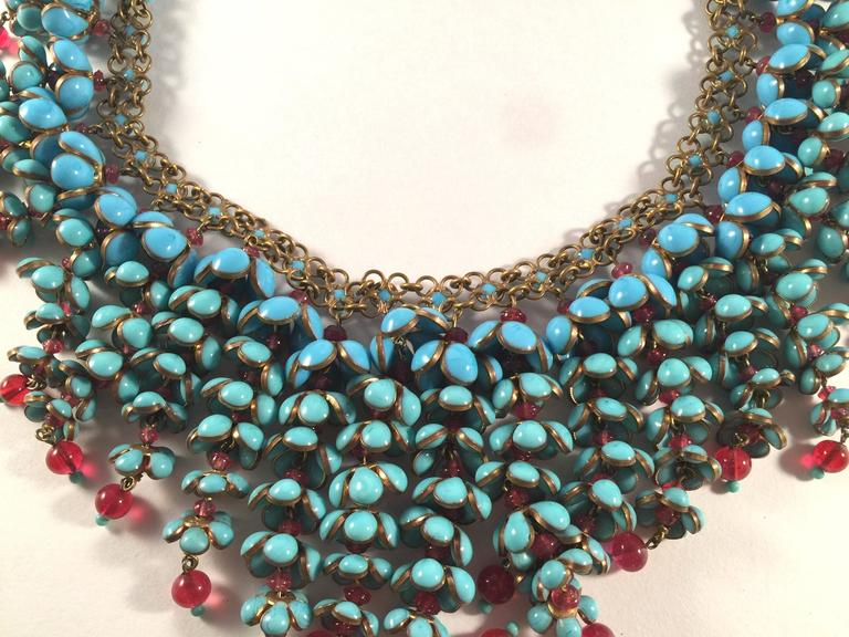 Coco Chanel Gripoix Poured Glass Flower Faux Turquoise and Ruby Necklace 9