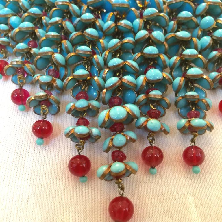 Coco Chanel Gripoix Poured Glass Flower Faux Turquoise and Ruby Necklace 5