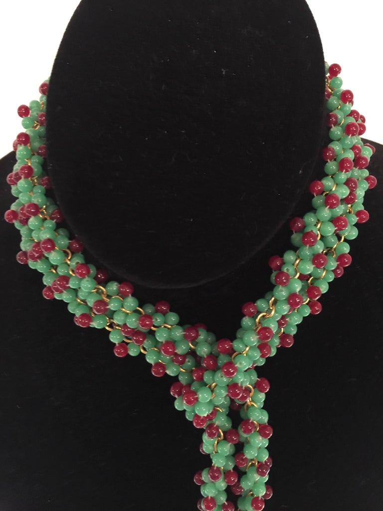 Women's William DeLillo Faux Emerald and Ruby Multi Functional Lariat Tasseled Necklace For Sale