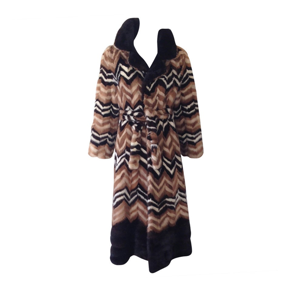 1970s  brown and creme chevron Mink coat