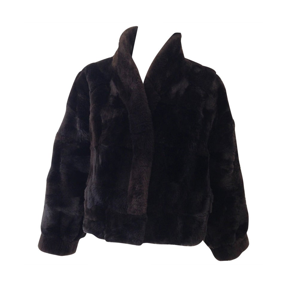 1980s Brown Nutria Fur Cropped Jacket