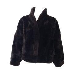 1980s Brown Nutria Fur Cropped Jacket