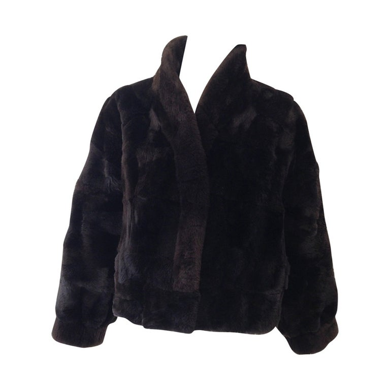 1980s Brown Nutria Fur Cropped Jacket  For Sale