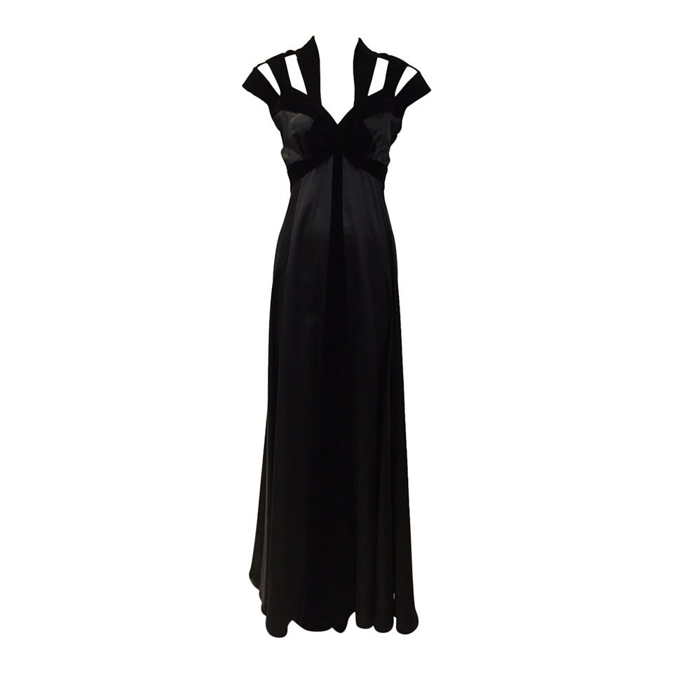 1990s THIERRY MUGLER Black Silk Gown with Cut Out Shoulder