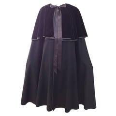 1970s SAINT LAURENT black wool and velvet cape