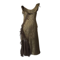 Vintage CHRISTIAN DIOR Gold Metallic Silk Brocade Ruffle Cocktail Dress