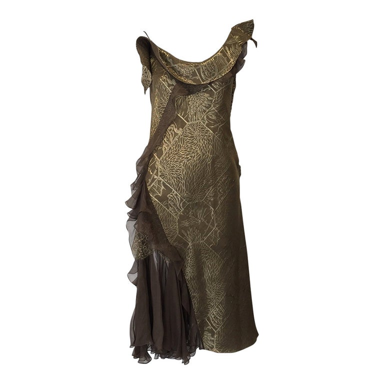 Vintage CHRISTIAN DIOR Gold Metallic Silk Brocade Ruffle Cocktail Dress For Sale