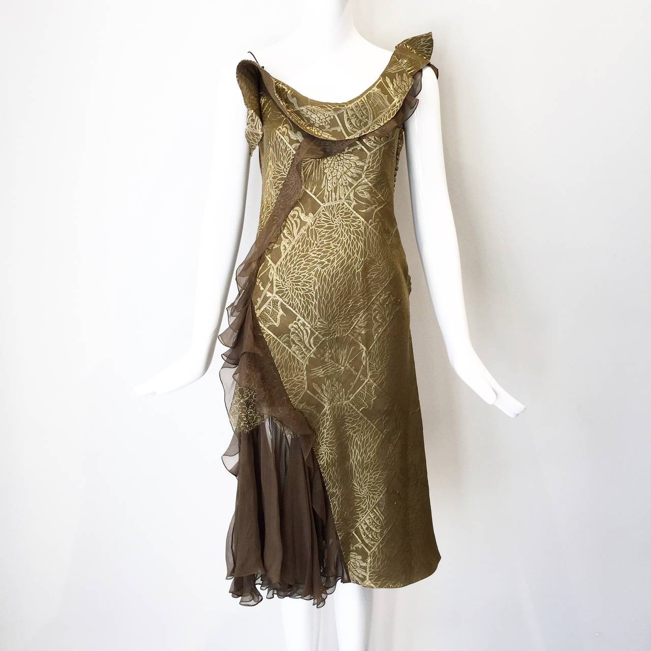 Vintage CHRISTIAN DIOR Gold Metallic Silk Brocade Ruffle Cocktail Dress 4